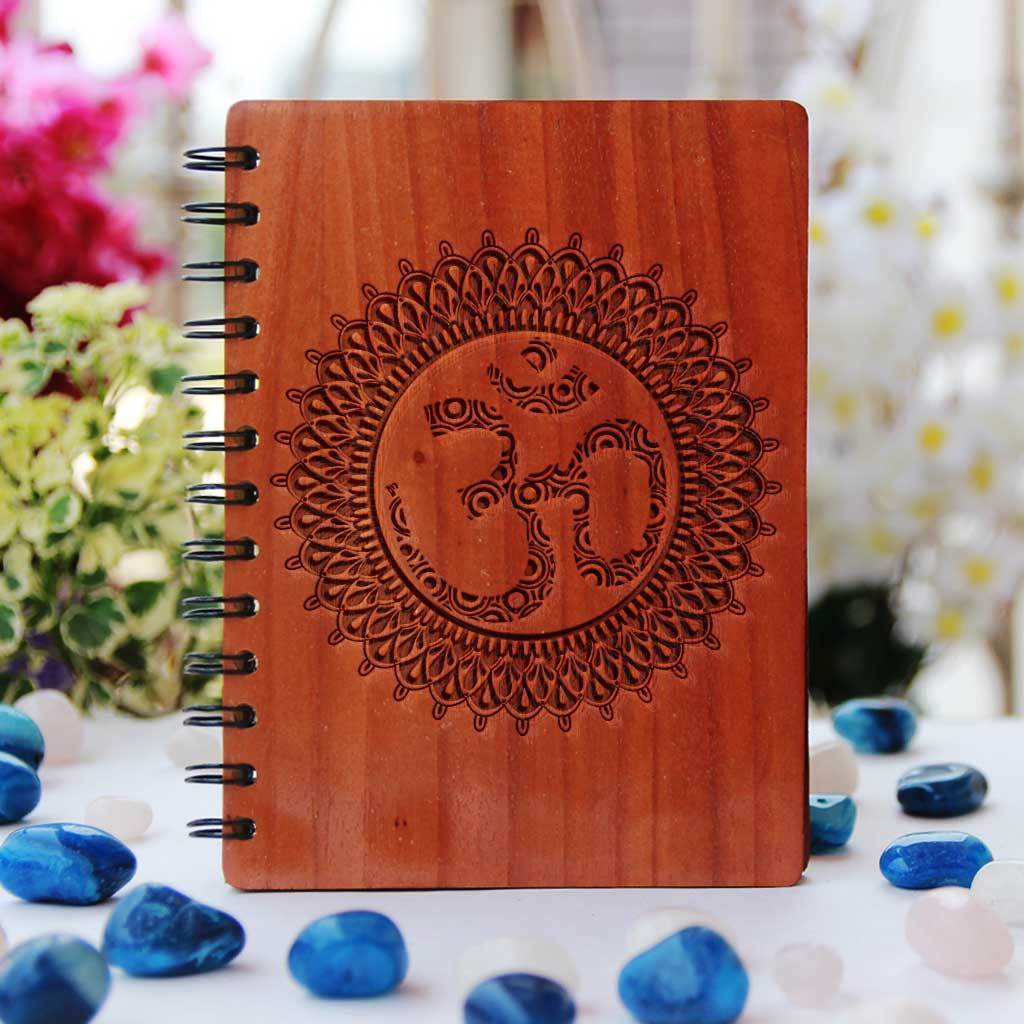 Personalized Om Journal Notebook. This Engraved Wooden Notebook Is A Great Personalized Diary. This Writer's Notebook Makes A Perfect Stationery Gift For Friends, Family, Or Loved Ones Who Love To Journal. Buy More Laser Engraved Notebooks From The Woodgeek Store.