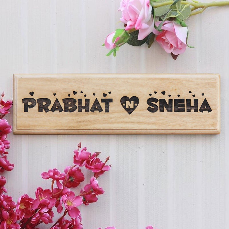 Wooden Name Signs - Wooden Nameplates for Couples & Nameplates - Wooden Signs for Walls - Custom Desk Nameplates by Woodgeek Store