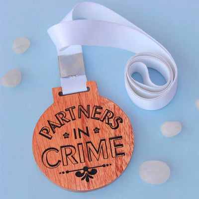 Partners In Crime Wooden Medal - This Personalized Medal Makes One Of The Best Inexpensive Gifts - These Funny Wooden Medals Make Great Gift Ideas For Friends