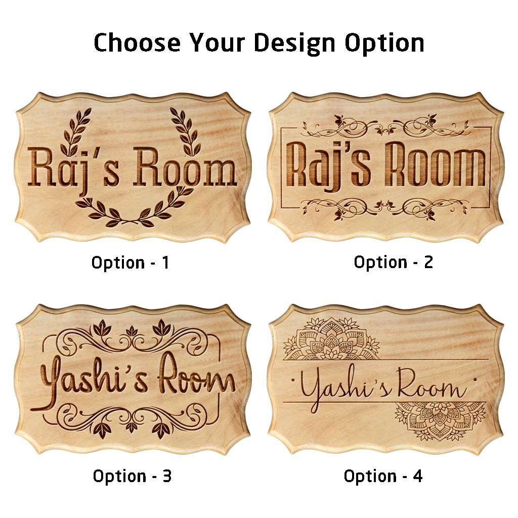 Wooden Name Signs for Home  Personalized Bedroom Door Name Signs