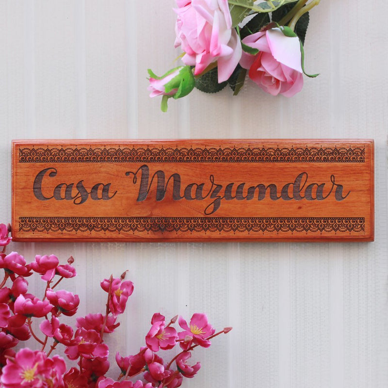 Wooden House Name Signs - Wooden Nameplates for Home - Custom Desk Nameplates - Personalized Family Name Signs by Woodgeek Store