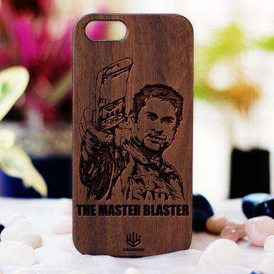 Create your own phone case at Woodgeek Store - Sachin Tendulkar Wooden Phone Case - Gifts for Cricket Fans - Custom Engraved Phone Case - Wooden Phone Covers for Sports Geeks