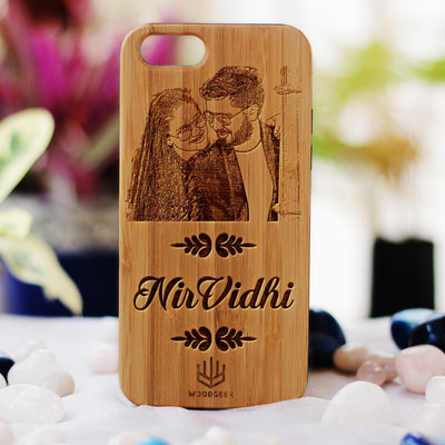 Photo Engraved Phone Case - Design Your Own Phone Case - Romantic Phone Cases - Wooden Phone Covers for Boyfriend, Girlfriend, Husband or Wife - Best Romantic Gifts from Woodgeek Store - Bamboo Phone Case