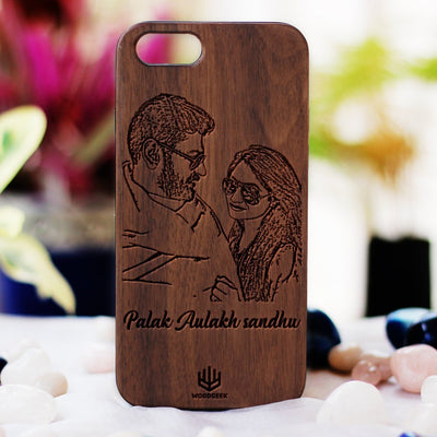 Photo Engraved Phone Case - Design Your Own Phone Case - Romantic Phone Cases - Wooden Phone Covers for Boyfriend, Girlfriend, Husband or Wife - Best Romantic Gifts from Woodgeek Store - Walnut Wood Phone Case