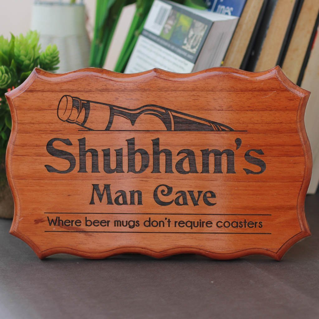 Personalized Man Cave Signs - Funny Man Cave Wood Signs - Custom Room Name Signs for Boy's Rooms by Woodgeek Store