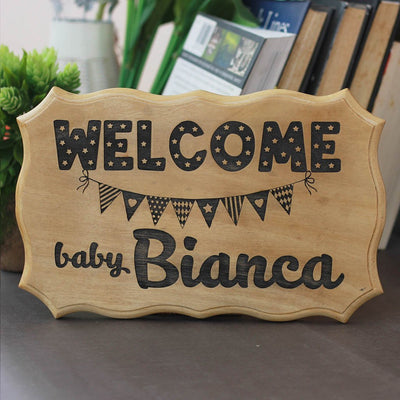 Welcome Baby Wood Sign - Personalized New Baby Sign - Nursery Wood Sign - Gifts for New Moms - Baby Shower Gifts - Personalized Gifts for Pregnant Parents by Woodgeek Store