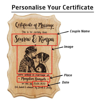 Photo Engraved Wooden Marriage Certificate. This Custom Certificate Of Marriage Makes One Of The Best Romantic Gifts for Husband And Wife.  Buy More Wooden Picture Frame Certificates Online by Woodgeek Store
