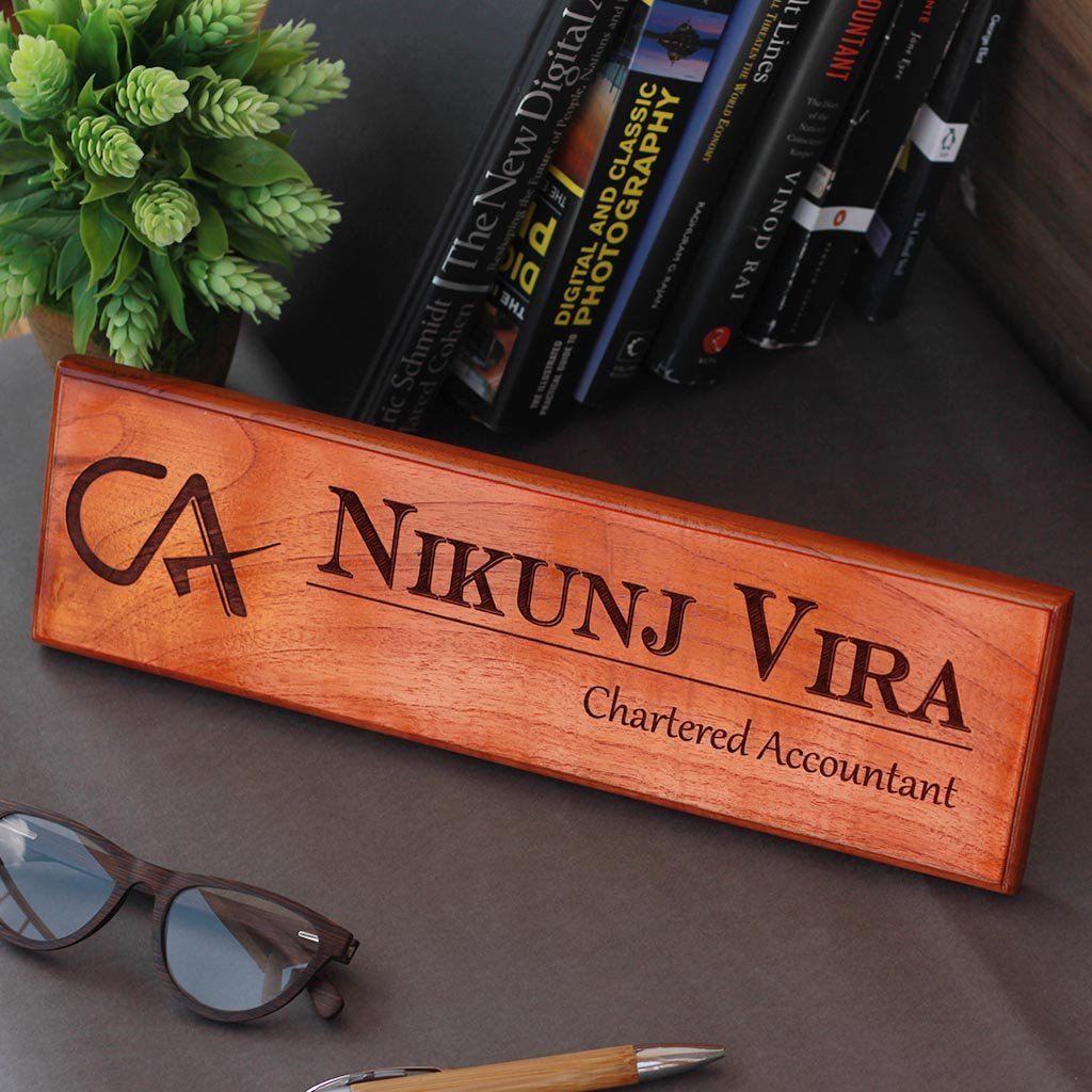 Personalized wooden nameplates for Chartered Accountants - Gifts for Chartered Accountants - Engraved Desk & Door Nameplates for Office by Woodgeek Store