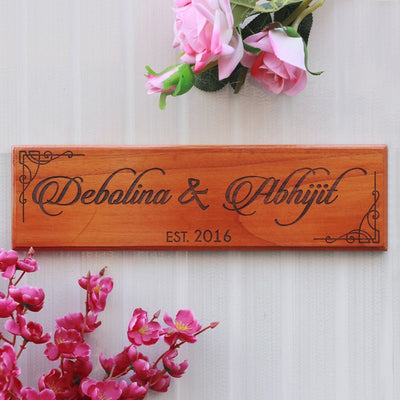 Wooden Name Signs - Wooden Nameplates for Couples & Nameplates - Wooden Signs for Walls - Door Nameplates by Woodgeek Store