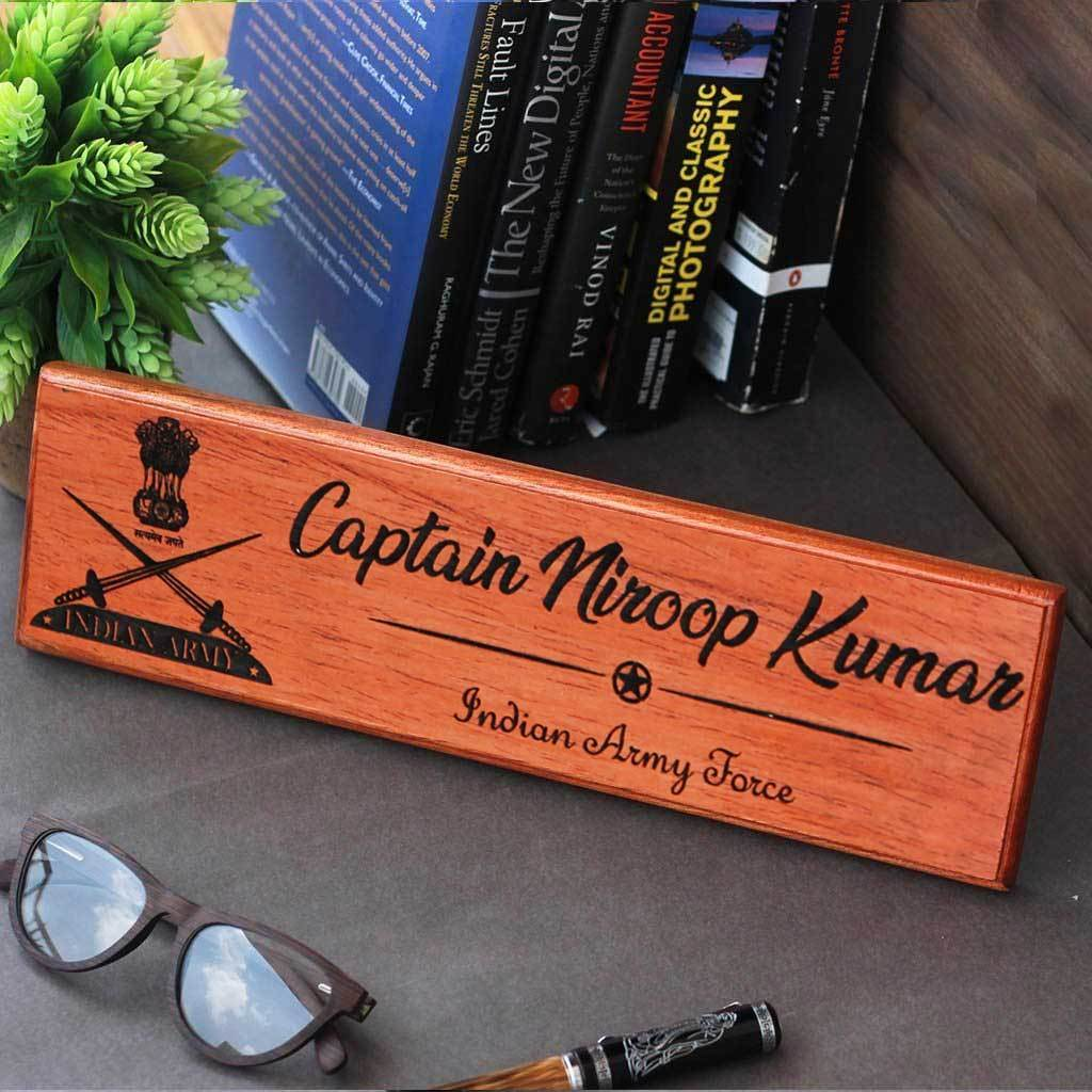 Personalized Wooden Name Plates For Army Officers. These engraved name plates are the best gifts for army officers and make unique military gifts. his office name plate can be used as a desk name plate or door name plate.