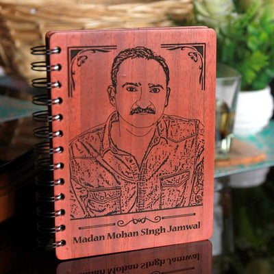 Personalised Wooden Diary With Photo For Teachers. This Writer's Journal Makes One Of The Best Gifts Ideas For Teachers. This Photo-Engraved Wooden Notebook Customised With Your Teacher's Name & Picture Is The Best Photo Gift For Teacher From Student.