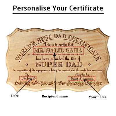 Personalized World's Best Dad Wooden Certificate