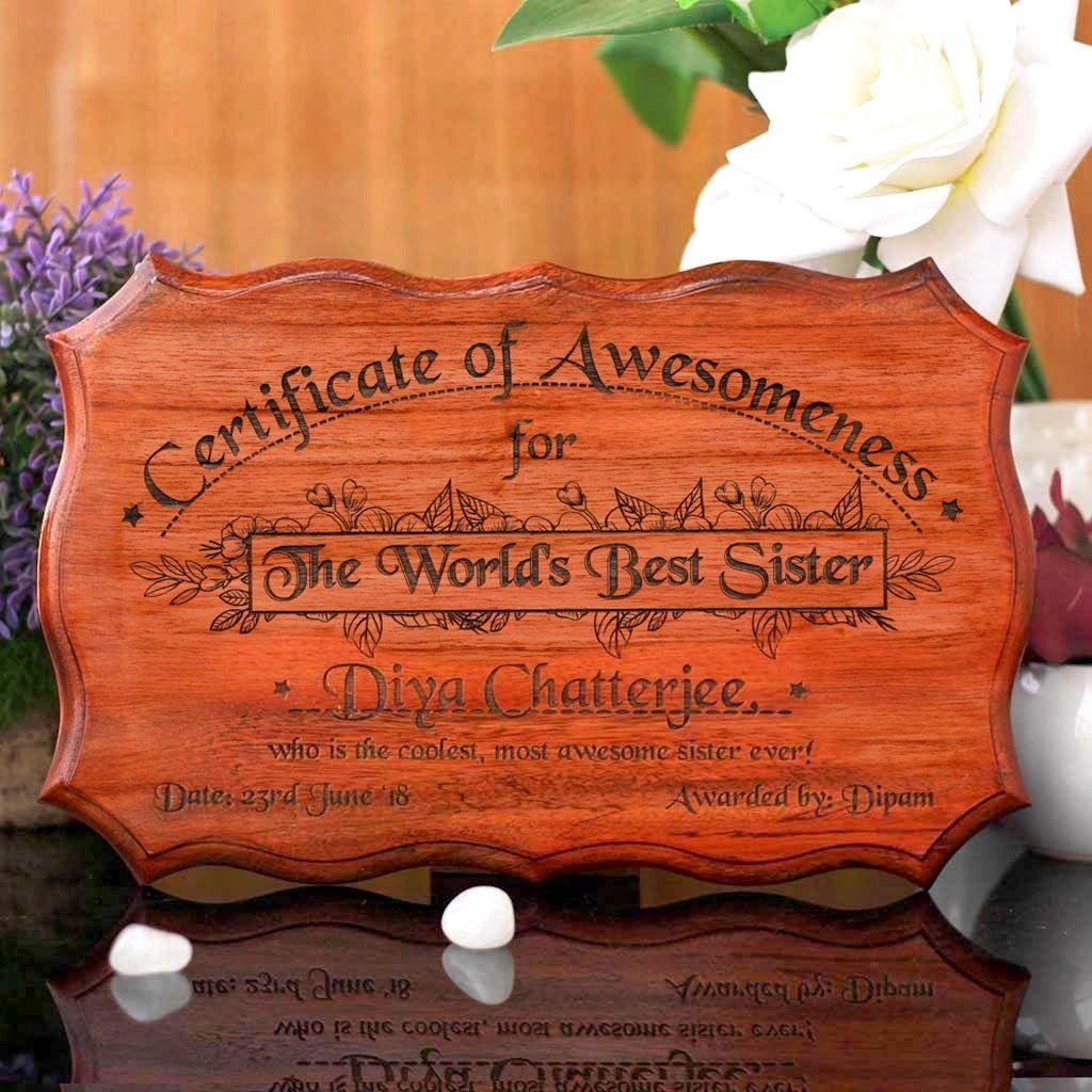 Personalized World's Best Sister Certificate - Greatest Sister Award Certificates - Unique Gifts for Sister - Rakhi & Birthday Gifts - Custom Wooden Certificates by Woodgeek Store