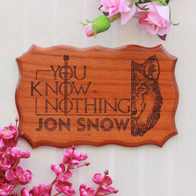 You know nothing, Jon Snow - Personalized Wood Sign for GOT fans - Best Gifts for Game of Thrones fans by Woodgeek Store