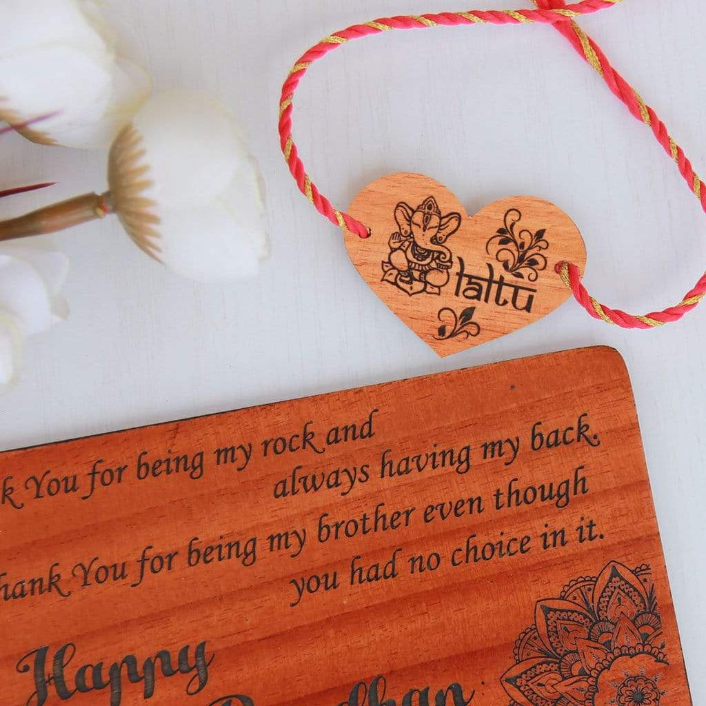 Personalised Wooden Rakhi & Greeting Card For Brother - This Wooden Rakhi and Wooden Greeting Card Is The Best Gift For Brothers - Looking For The Best Rakhi Designs ? Shop Online Gifts For Raksha Bandhan From The Woodgeek Store.