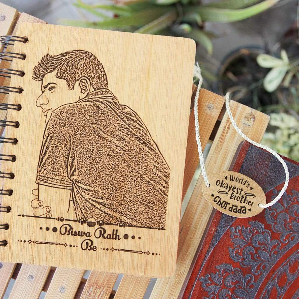 Wooden Notebook Engraved With Photo & Name. Looking for a unique gift for your brother or sister? This personalised wooden journal makes great Rakhi gifts or birthday gifts for brother or sister.