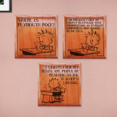 Test Paper - Where is Plymouth Rock? Calvin: I am presently not at liberty to divulge that information, as it might compromise our agents on the field. Calvin: I understand my tests are popular readings in the teacher's lounge. Calvin & Hobbes Comic Strip Engraved On Wooden Crossword Blocks - Looking For Best Calvin & Hobbes Merchandise? These Wooden Scrabble Tiles Make The Best Gifts for Comic Lovers