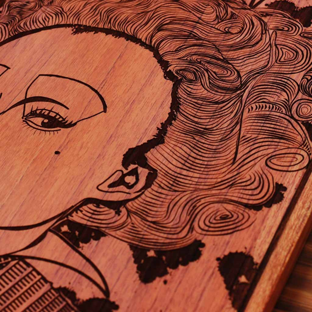 Queen of Hearts Carved Wooden Poster
