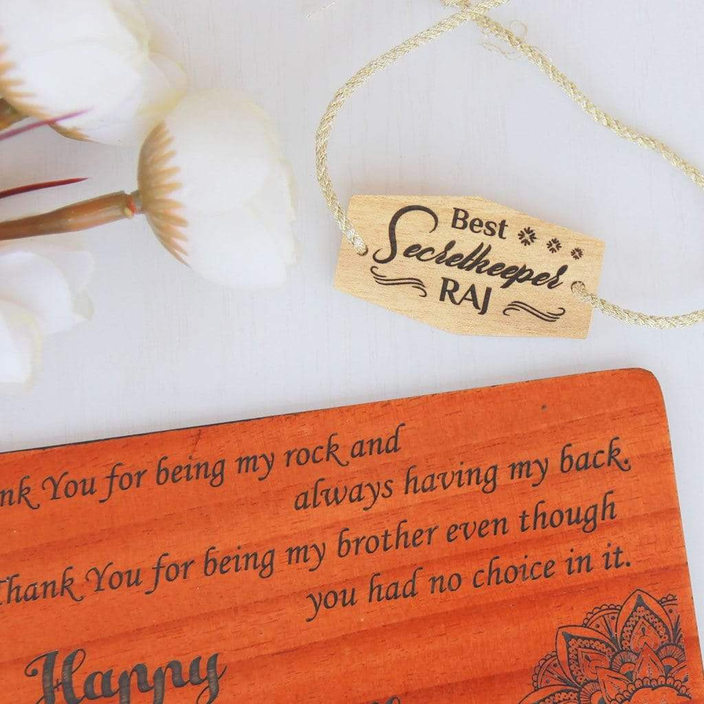 Best Secretkeeper Personalised Rakhi and Raksha Bandhan Greeting Card - This Wooden Rakhi Comes With A Wooden Greeting Card Engraved With Raksha Bandhan Greetings Makes The Best Rakhi Gifts for Brother - Buy The Best Rakhi And Send Personalized Rakhi Gifts Online With Woodgeek Store.