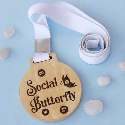Social Butterfly Wooden Medal - This Engraved Medal Is A Funny Gift For A Friend - These Trophies And Medals Are Great Gifts for Friends Obsessed With Social Media.