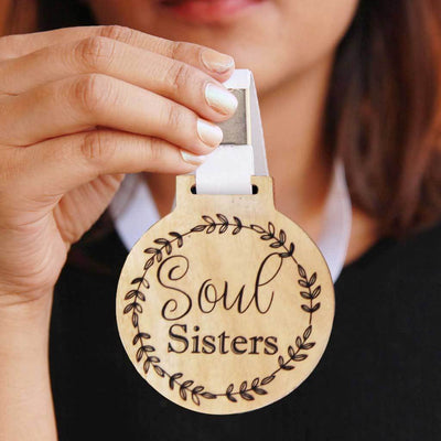 Wooden Medal Engraved With Soul Sisters - A Special Gift For Sisters and Cute Gifts for Best Friend