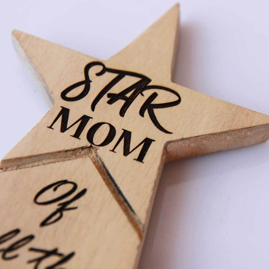 Star Mom Wooden Trophy. Custom trophies engraved with mom's name. This award standee is a great personalised gift for mom for Mother's Day or for mom's birthday.