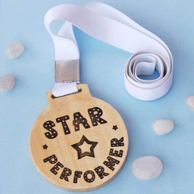 Star Performer Wooden Medal - This Wooden Medal Comes With A Ribbon - These Wooden Medals Make The Best Employee Appreciation Gifts