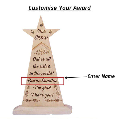 Star Sister Wooden Trophy - Custom Trophies Engraved With Your Sister's Name - This Award Standee Is A Great Personalised Gift For Sister For Rakhi And Best Birthday Gifts For Her.