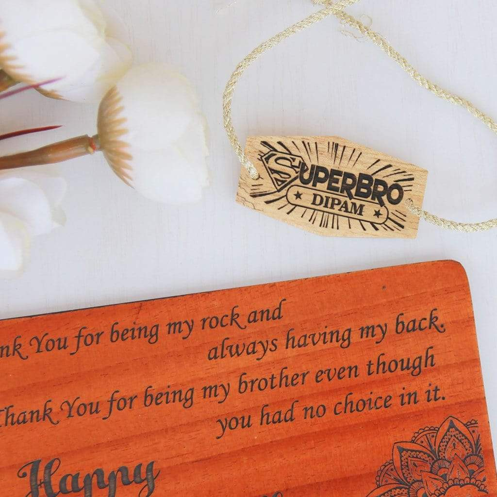 SuperBro Personalised Rakhi. This Wooden Rakhi and Wooden Greeting Card Is The Best Rakhi Gift for Brother. Buy Rakhi Online and send Rakhi online with Woodgeek Store.