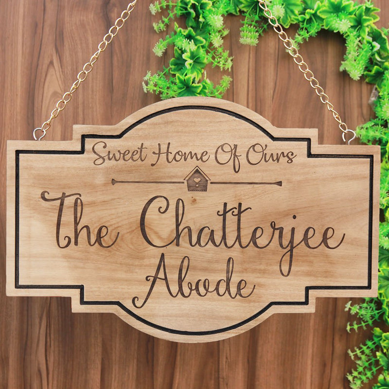Sweet Home Of Ours Custom Wood Sign - Last Name Signs - Personalized Family Name Signs - Hanging House Signs - Hanging Signs - Wooden Signs - Woodgeek Store