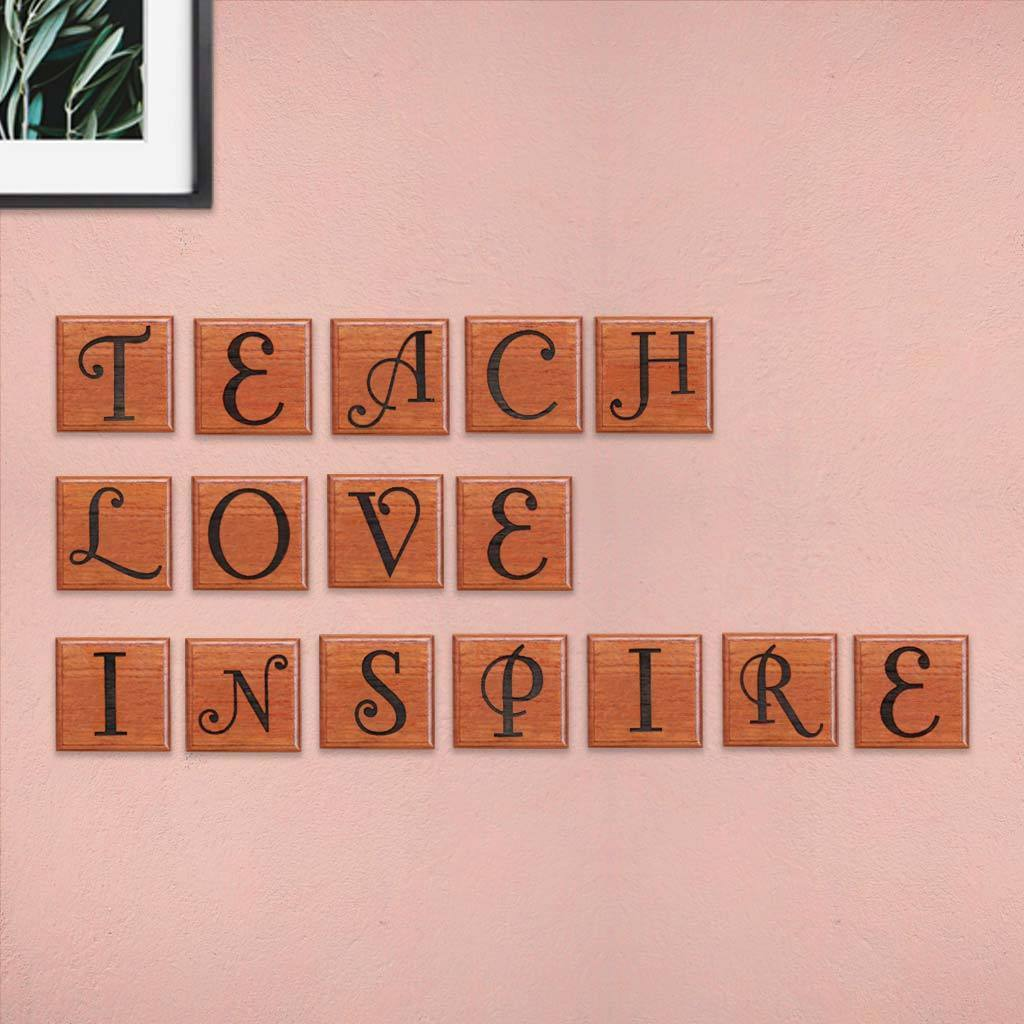Teach Love Inspire Personalized Wooden Crossword Art & Scrabble Wall Art - These Wooden Letter Tiles Make One Of The Best Teacher Gifts - Looking For The Best Gifts For Teachers ? These Engraved Letter Wall Decor Online by Woodgeek Store Makes One Of The Best Gift Ideas For Teacher's Day And Birthday Gifts For Teachers And Professors.