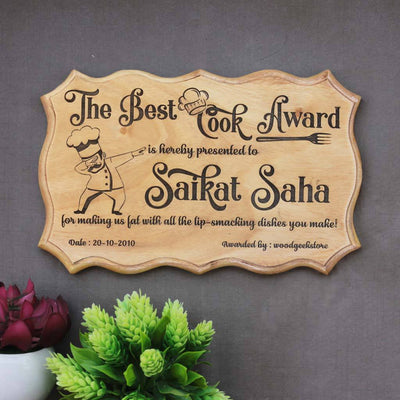 The Best Cook Award Certificate - Funny Certificates for Friends & Family - Custom Certificates of Appreciation - Woodgeek Store