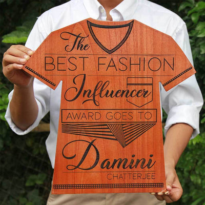 The Best Fashion Influencer Wooden T Award Plaque - This Wooden Trophy Makes The Best Gift For Fashionistas - Looking For Awards Online ? This Personalized Trophy Plaque Makes A Great Fashion Award For Fashion Lovers.