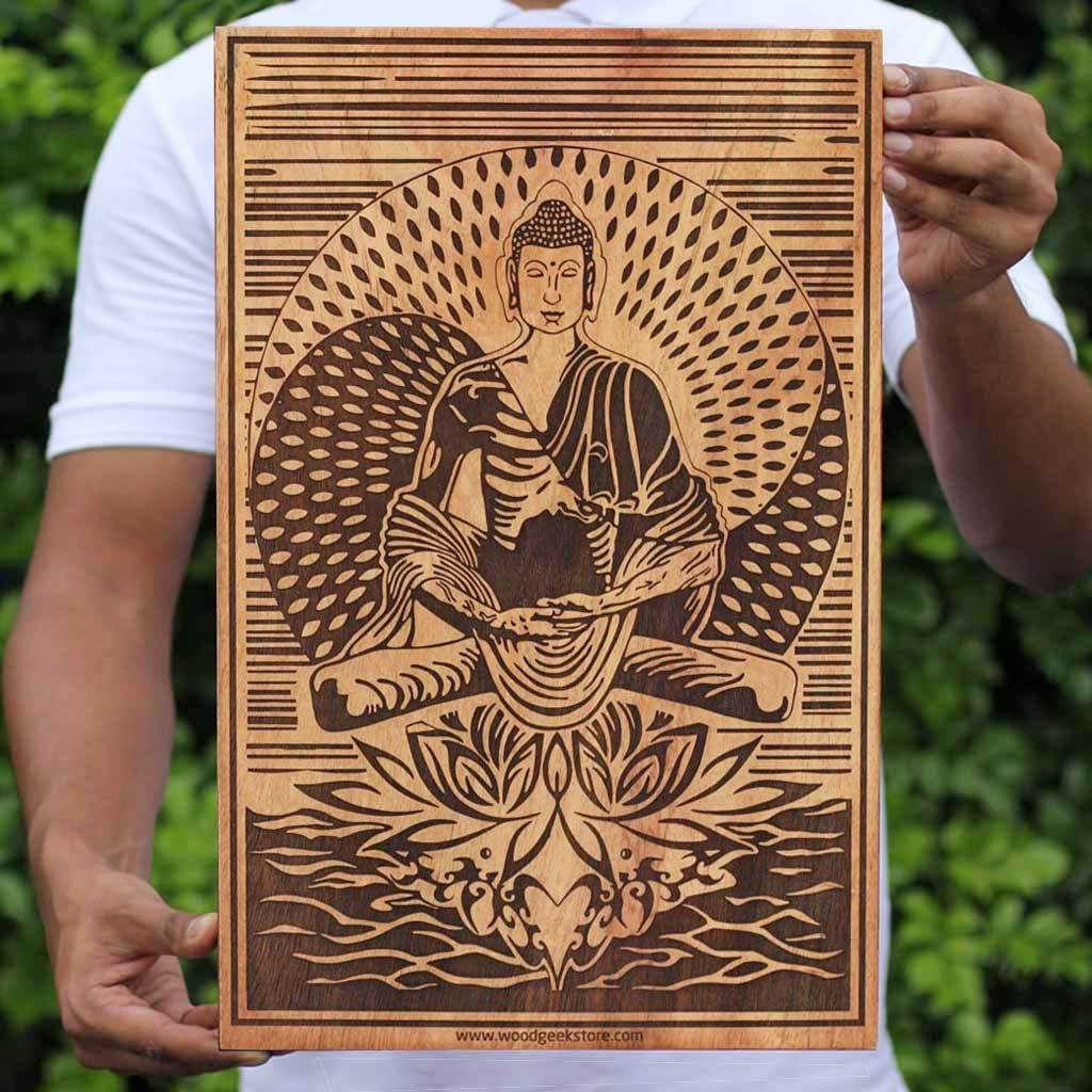 The Buddha Enlightenment Carved Wooden Poster by Woodgeek Store - Buddhism Wooden Artwork - Religious & Spiritual Wood Wall Hanging - Buy Wood Wall Art Decor Online
