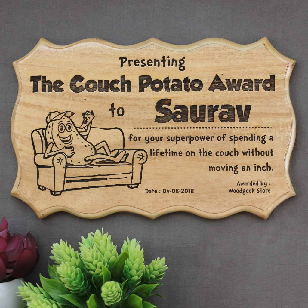 The Couch Potato Award - Award for the laziest person - Funny Awards & Certificates - Humorous Certificates of Appreciation -  Funny Employee Awards - Funny Certificates for Friends - Woodgeek Store