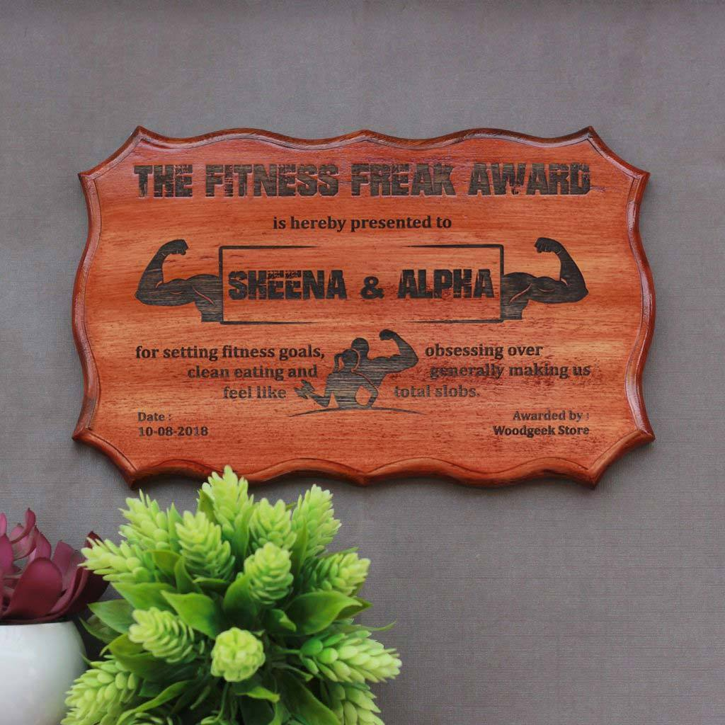 The Fitness Freak Award Certificate - Wooden Certificate - Humorous Awards For Colleagues & Friends - Woodgeek Store