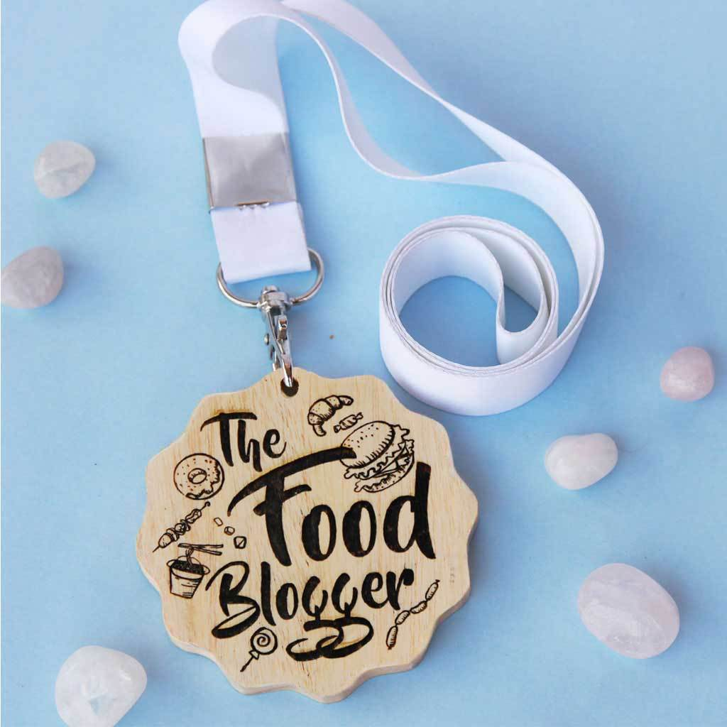 The Food Blogger Engraved Medal - This Wooden Medal Is One Of The Best Gifts For Foodies - This Custom Medal Makes One Of The Best Gift Ideas For Food Lovers.