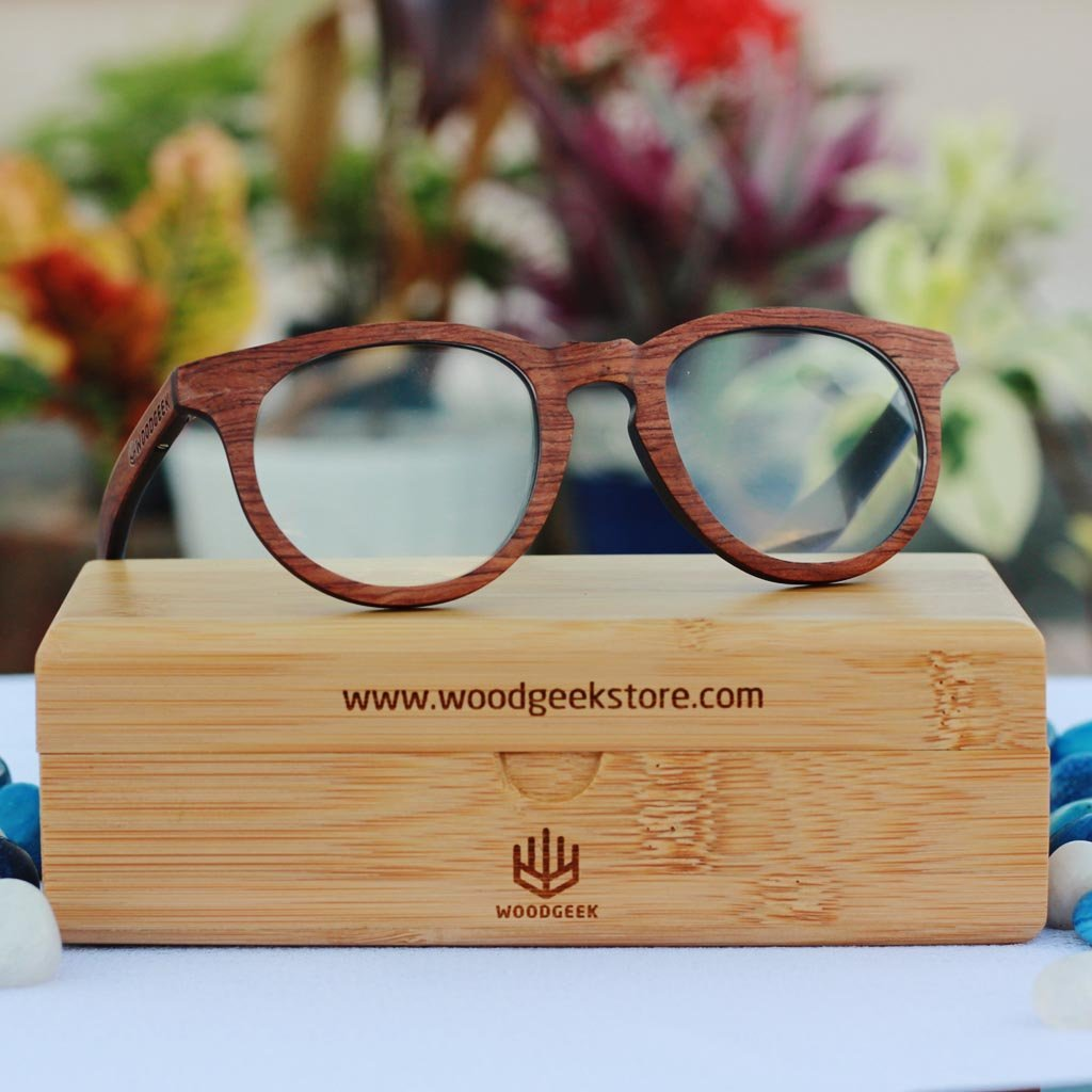 The Geek - rosewood round spectacle frames