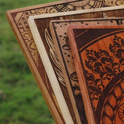 Carved Wooden Poster in Mahogany, Teak, Beech Wood and Birch Wood by Woodgeek Store - Wooden Artwork - Buy Wood Wall Art Decor Online