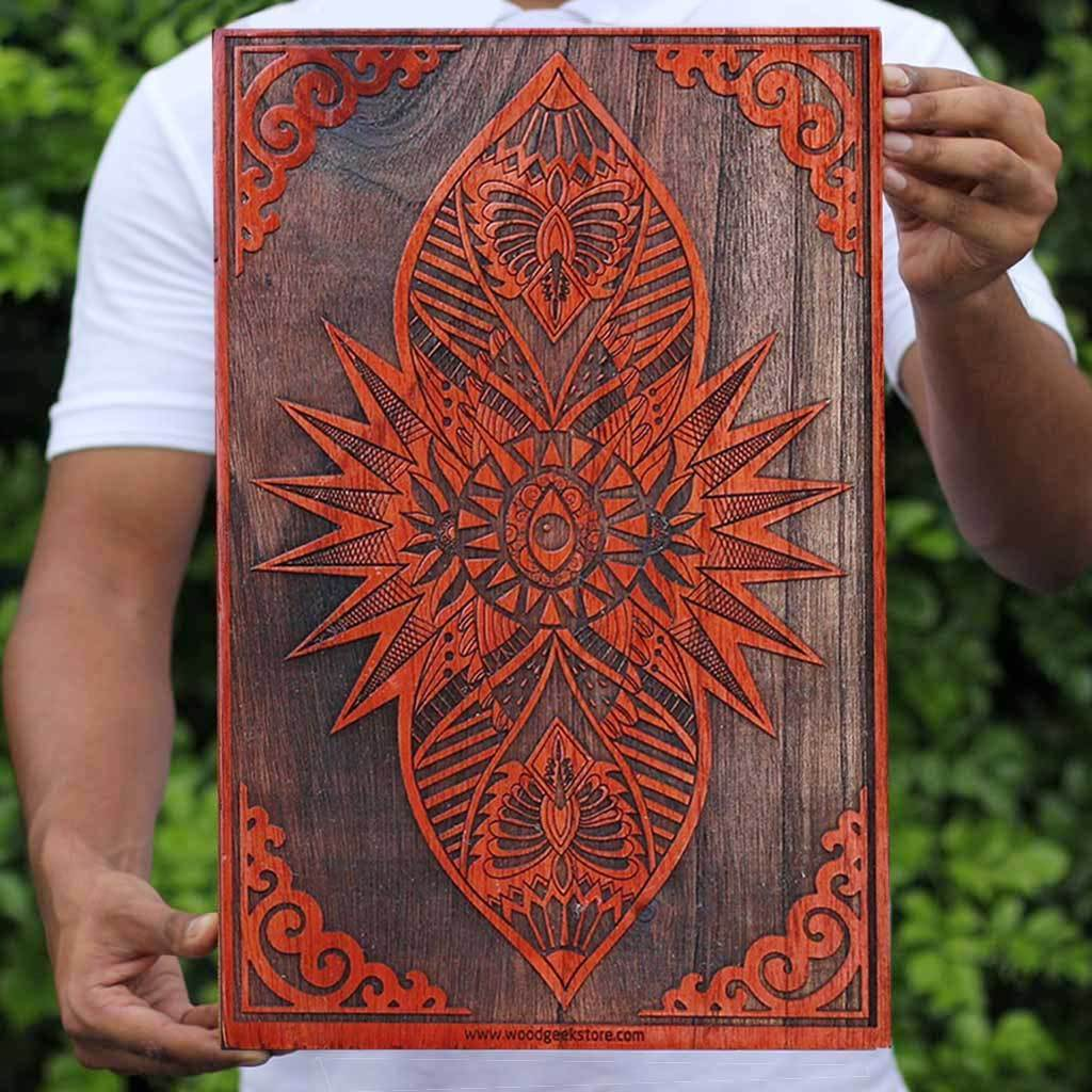 Buy wood wall art online - The Third Eye - Ajna in Hinduism - Wooden wall hanging - Carved wood wall art - Woodgeek Store