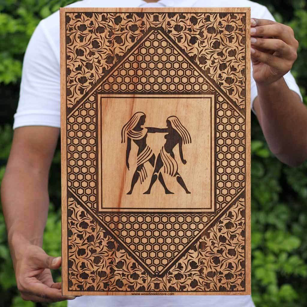 The Gemini Twins Carved Wooden Poster by Woodgeek Store - Zodiac Sign Wooden Artwork - Buy Wood Wall Art Decor Online
