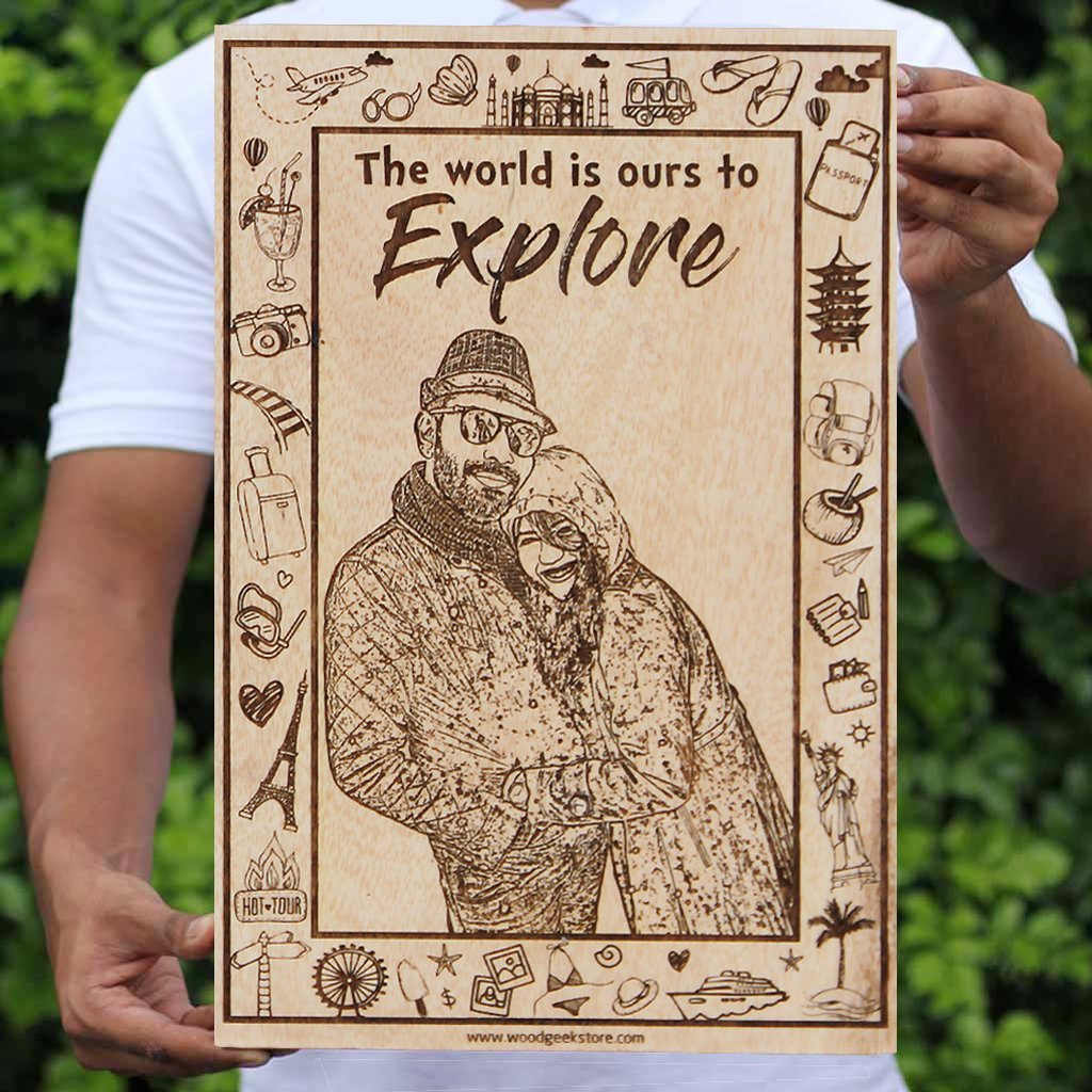 The world is ours to explore wooden poster. A wood engraved photo with a carved travel quote for the travel couple. This photo on wood is the best travel gift for someone who loves to travel.