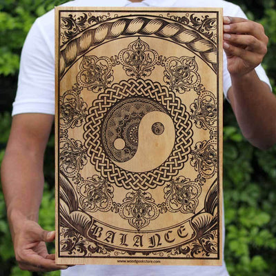 Buy Wood Wall Art Online - Wood Carved Wall Art - Yin & Yang Art on Wood - Woodgeek Store