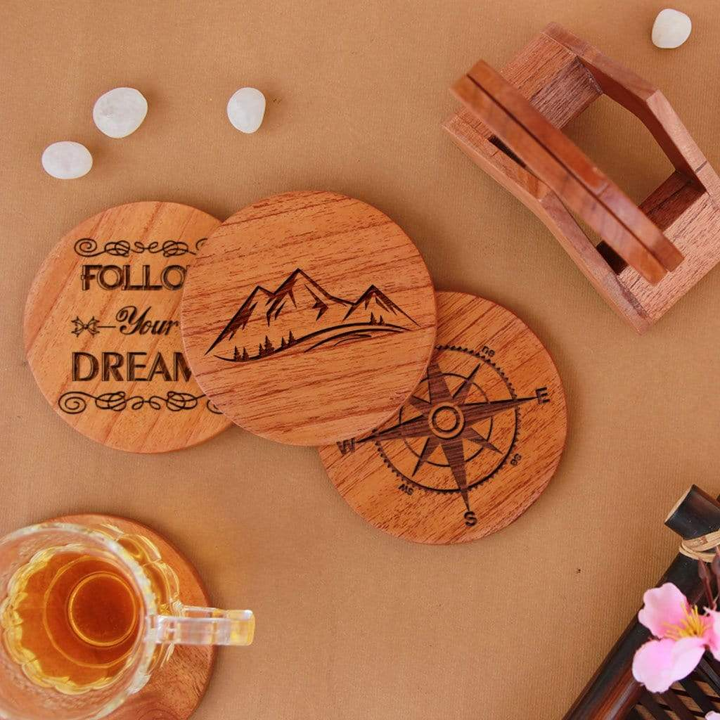 Travel Coasters - Wooden Coaster Set With Holder