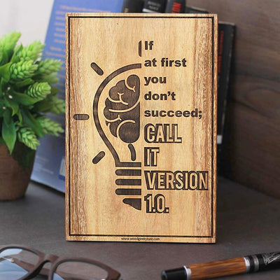 If you don't succeed at first call it version 1.0 Wood Sign for Programmers - Computer Geek Gifts - Woodgeek Store