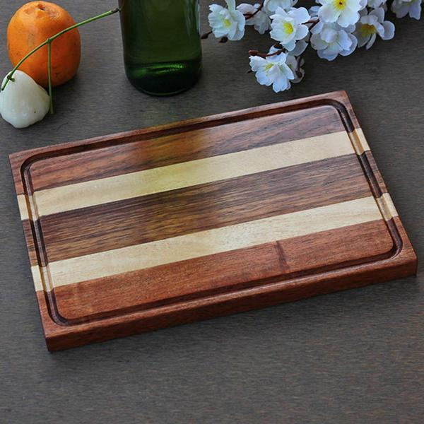 Walnut & Birch Striped Wooden Chopping Board