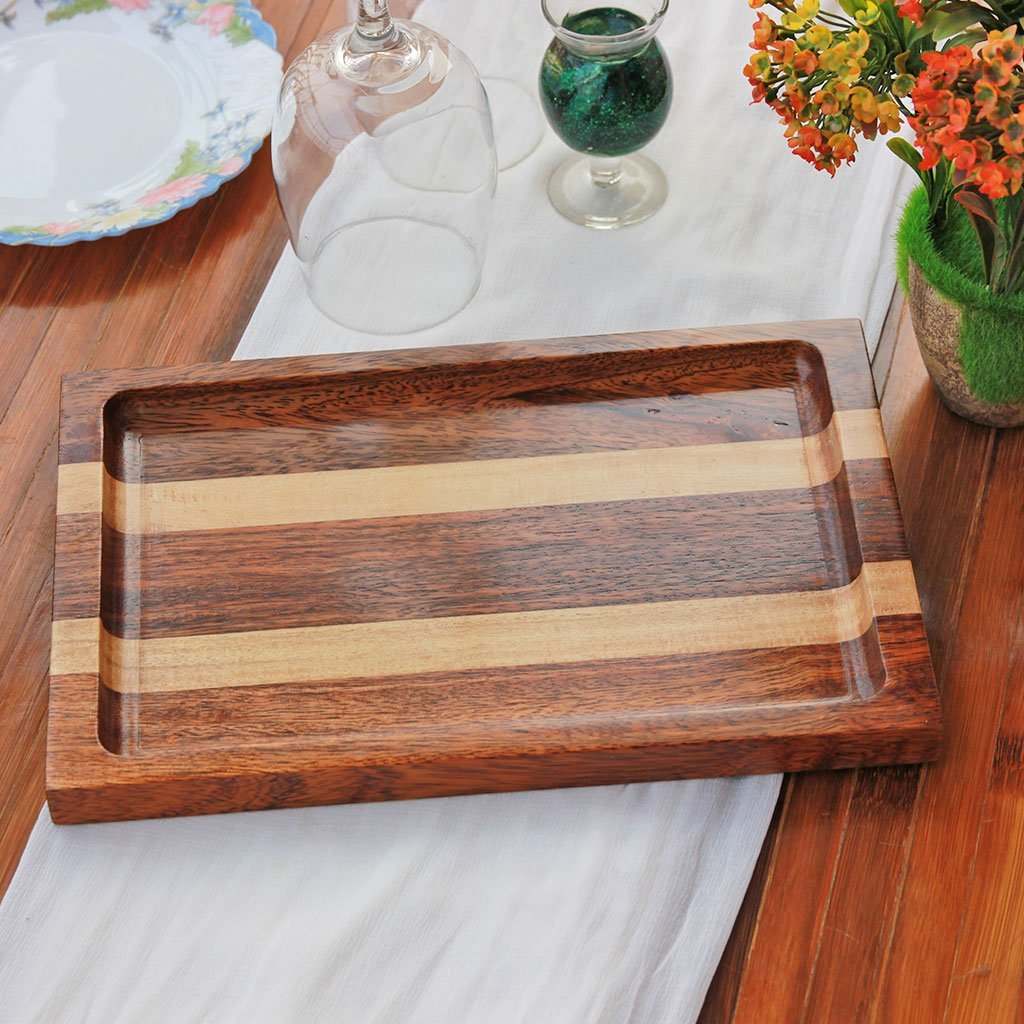 Walnut and Birch Wooden Tray - Wooden Serving Tray - Coffee Serving Tray - Bar & Cocktail Tray - Wooden Tea Tray - Wooden Food Trays - Small Wooden Tray - Decorative Wooden Serving Trays - Bed Serving Tray - Large Serving Tray - Rectangular Serving Tray - Kitchen Decor - Wooden Kitchen Accessories - Woodgeek Store