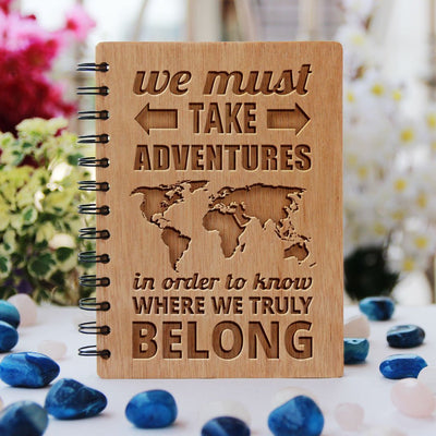 Notebook - We Must Take Adventures - Bamboo Wood Notebook