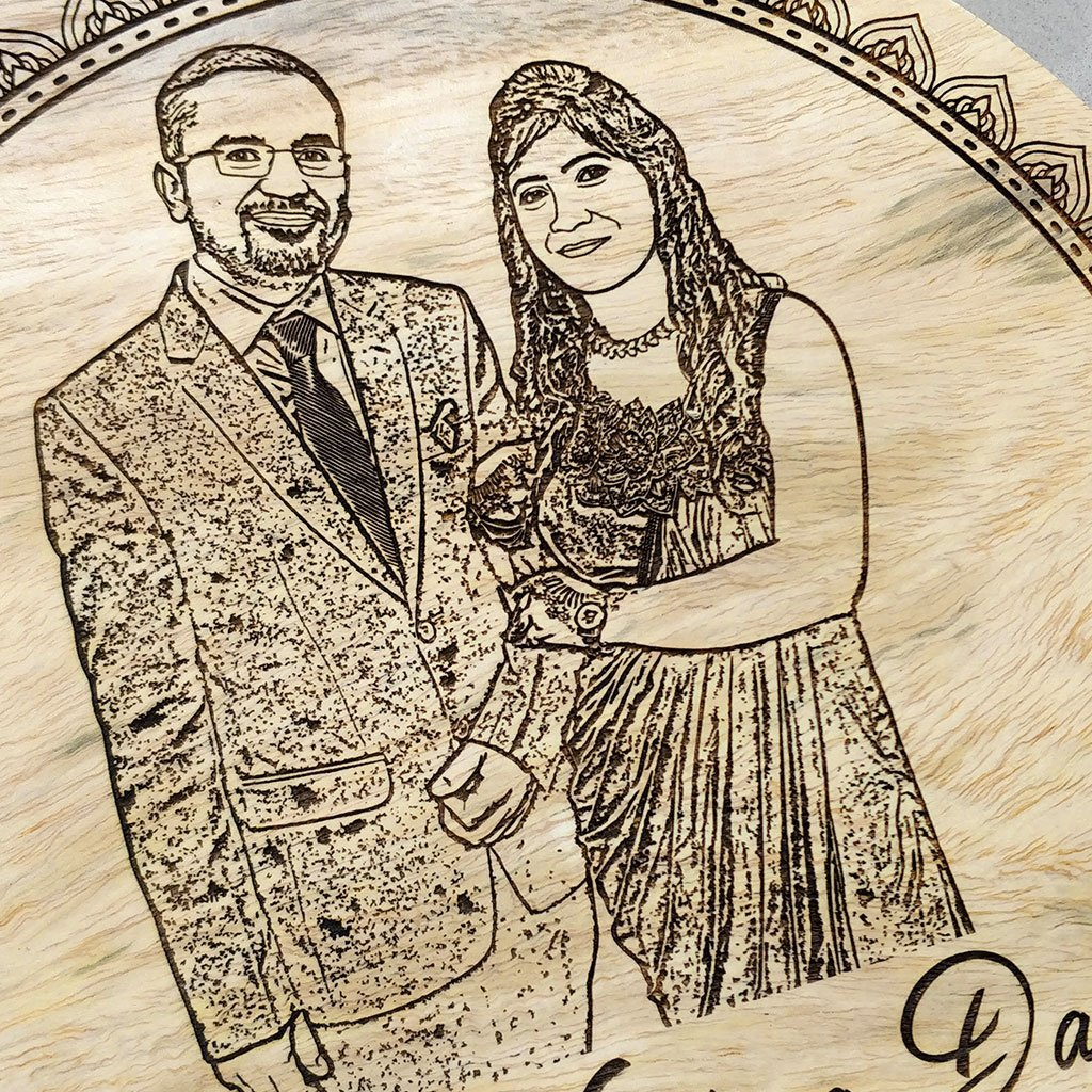 Our Wedding Day Engraved Wooden Photo Frame. A Wood Engraved Photo Of Your Wedding Day. This Photo on Wood Is The Best Wedding Gift or Anniversary Gift.