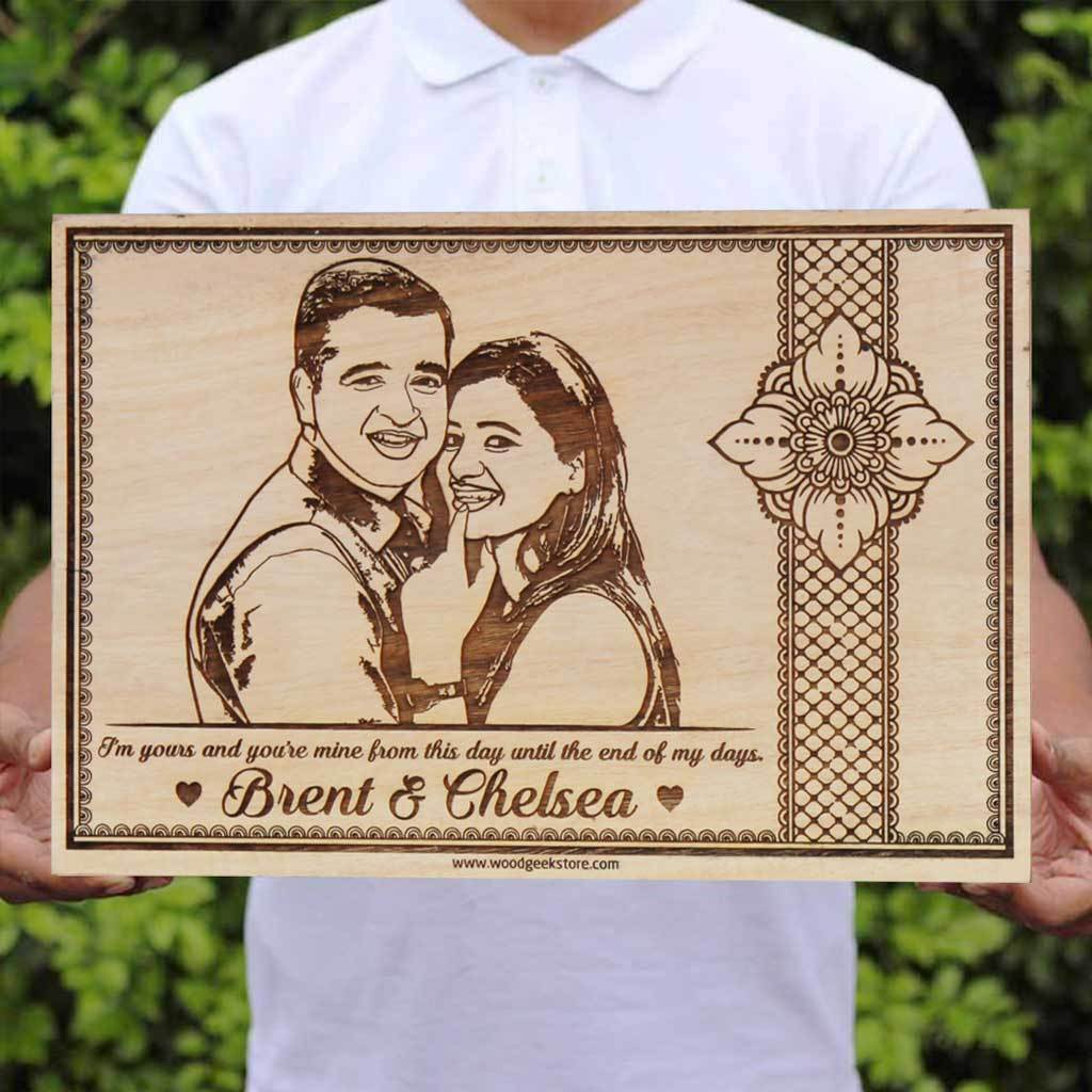 I'm Yours And You're Mine From This Day Until The End Of My Days - This Is Rob Stark and Talisa's Wedding Vows In Game of Thrones - Personalized Wooden Frame & Wooden Plaque - Looking for photo gifts? This Wood Engraved Photo Makes Great Wedding Gifts - Customized Wooden Poster in Mahogany & Birch Wood by Woodgeek Store